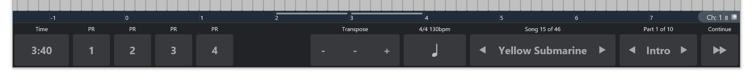 Controller Bar - Cantabile - Software for Performing Musicians