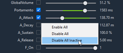 Enable/Disable All Parameters